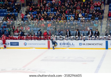 PODOLSK - NOVEMBER 21, 2015: Two teams just before free shots during hockey game Vityaz vs Torpedo on Russia KHL championship in Vutyaz ice arena, Podolsk, Russia. Torpedo won 4:3 - stock photo