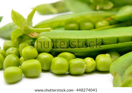 Pods of green peas isolated on a white background. Green, ripe, fresh vegetables. Legumes. - stock photo