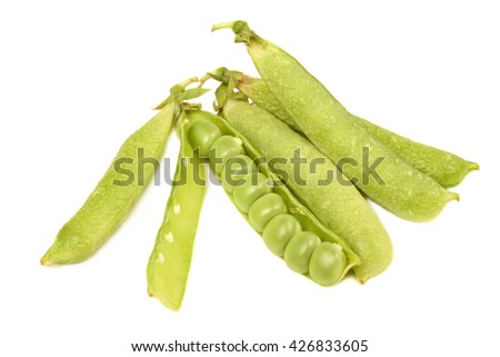 Pods of green peas sweet, isolated on a white background - stock photo