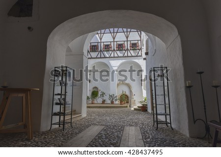 PODSREDA, SLOVENIA - MAY 28, 2016: Inner court of the medieval castle Podsreda in south Styria (Stajerska)