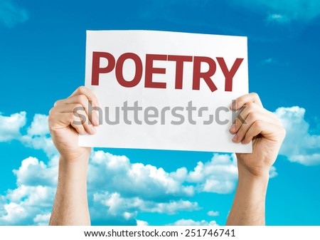 Poetry card with sky background - stock photo