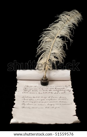 Poetry on old paper scroll. Quill pen and ink in focus. - stock photo