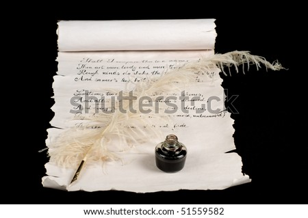 Poetry on old paper scroll. Text is Shakespeare's Sonnet 18. - stock photo