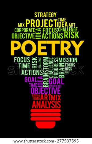 poetry word on cloud concept with bulb shape - stock photo