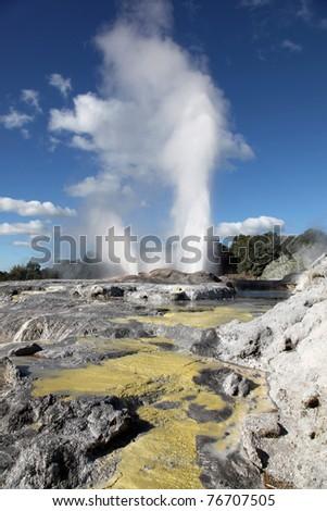 Pohutu and Prince of Wales geysers. Rotorua New Zealand - stock photo