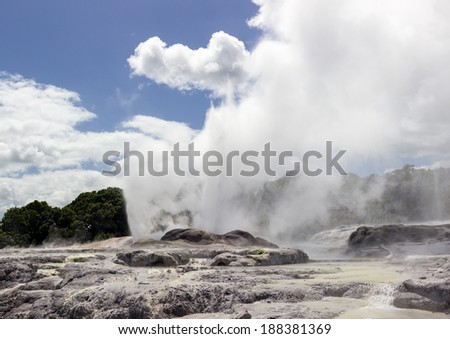 Pohutu Geyser at Whakarewarewa is a geothermal area within Rotorua city in the Taupo Volcanic Zone of New Zealand - stock photo