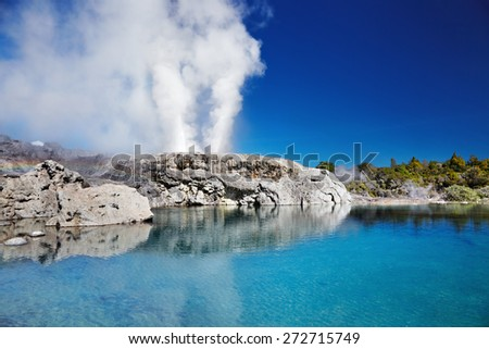 Pohutu Geyser, Whakarewarewa Thermal Valley, Rotorua, New Zealand - stock photo