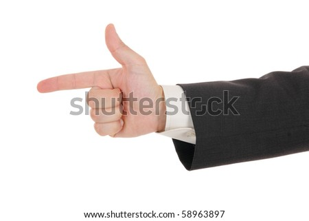 poiniting businessman hand, isolated on white - stock photo