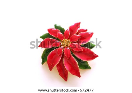 Poinsettia Broach - stock photo