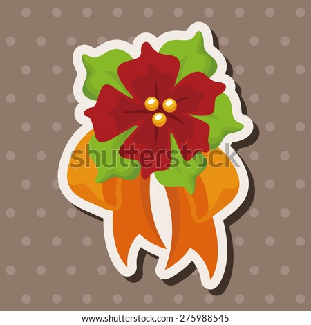poinsettia , cartoon sticker icon