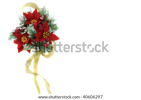 Poinsettia Christmas decoration, nice green and reds color combination, with gold ribbon. - stock photo
