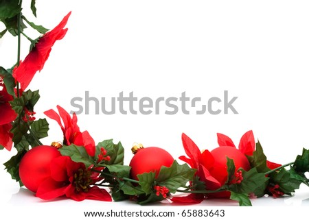 Poinsettia flowers making a border with white background, Christmas  border