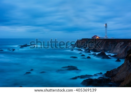 Point Arena Lighthouse in California at night - stock photo