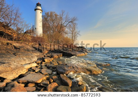 Point Aux Barques Lighthouse - Port Hope , Michigan Spring sunrise. - stock photo