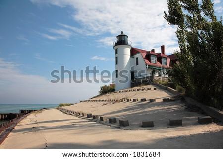 Point Betsie Lighthouse Tower and Breakwater, Lake Michigan - stock photo