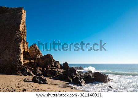 point dume, zuma beach, california - stock photo