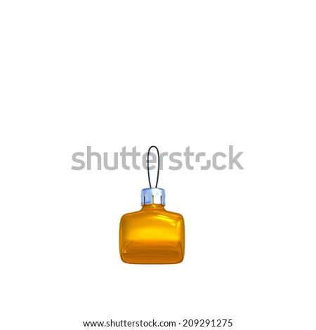 Point. Golden shining christmas ball. Alphabet isolated on white background. - stock photo