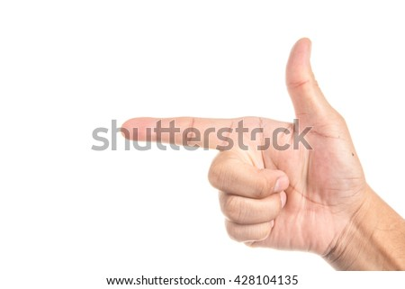point in hand Sign with isolate white background  - stock photo