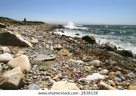 Point Judith Lighthouse Rhode Island Horizontal - stock photo