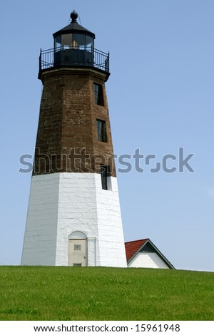 Point Judith Lighthouse, Rhode Island, Vertical With Copy Space - stock photo