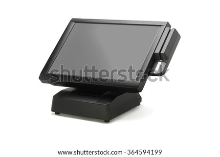 Point Of Sale System With Wide Screen Monitor On White Background - stock photo