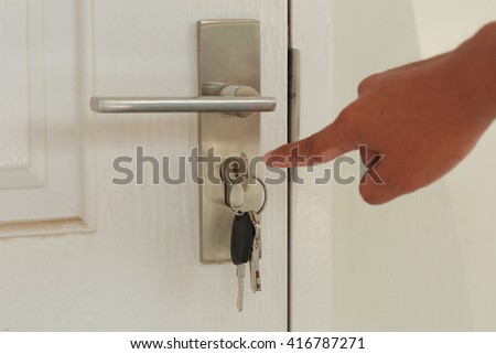 Point to forget the key insert and hold in stainless steel round ball door knob - stock photo