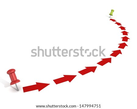 Point to point way with red arrows and pins - stock photo