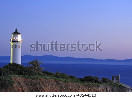 Point Vicente lighthouse at night - stock photo