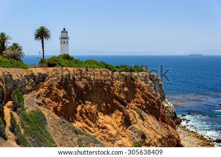 Point Vincente Lighthouse on the rock, Los Angeles, California - stock photo