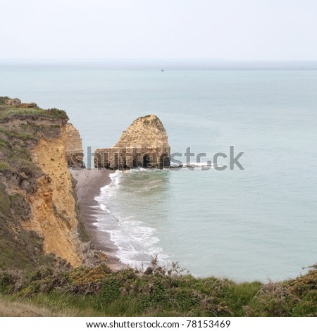 Pointe du Hoc between Omaha Beach and Utah Beach, Normandy, France. - stock photo