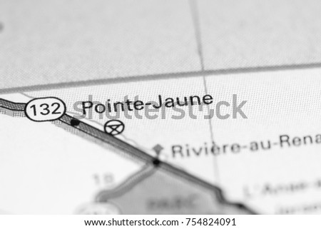 Pointe Jaune. Canada on a map.