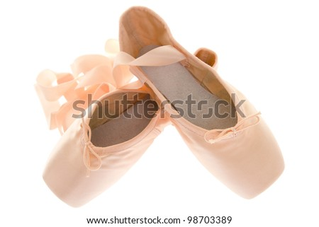 Pointe shoes for ballet, isolated on white background.