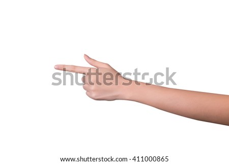 pointer hand isolated on whithe background - stock photo