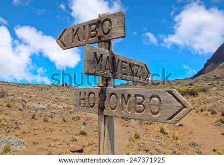 Pointer Kibo, Horombo, Mawenzi  on the Route to Mawenzi - stock photo