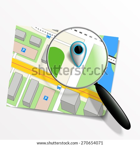 pointer on the map and magnifying glass - stock photo