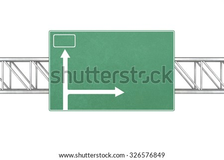 Pointer tracks, green road signs isolated  a white background. - stock photo