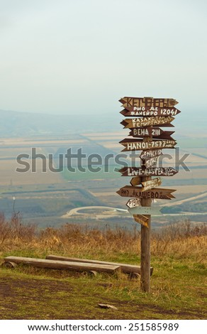 Pointers distances to different cities. Pyatigorsk, Russia  - stock photo