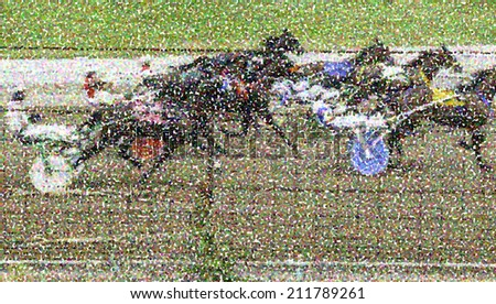 Pointillized illustration of drivers and horses in a harness race