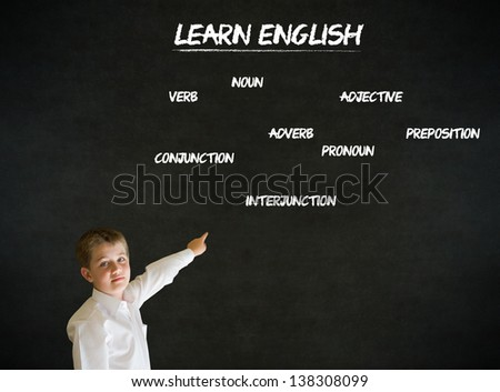 Pointing boy dressed up as business man with learn English on blackboard background - stock photo