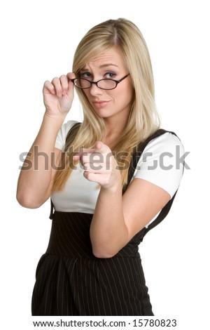 Pointing Businesswoman - stock photo