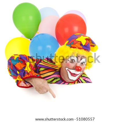 Pointing clown with balloons, isolated on white.  Design element ready for your text. - stock photo