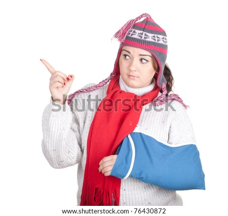 pointing fat young woman with broken hand - stock photo