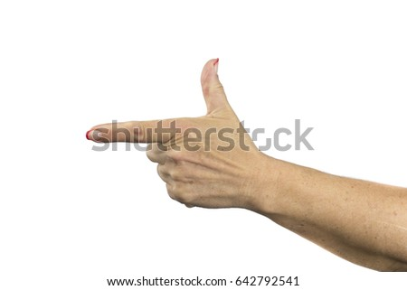 Pointing finger gesture. Close up of woman's hand with pointing finger isolated on white background.