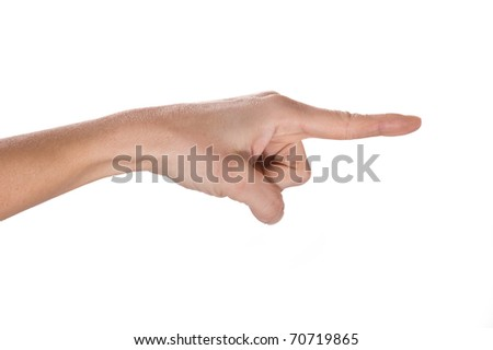 Pointing finger isolated. - stock photo