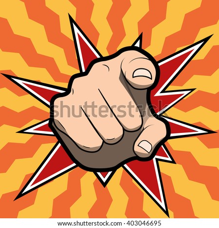 Pointing finger or hand pointing icon isolated on colored background. Raster version