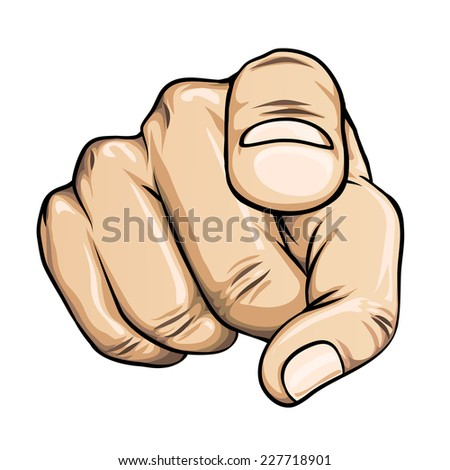pointing finger or hand pointing icon isolated on white background - stock photo