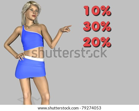 pointing girl - stock photo