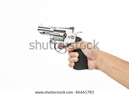 Pointing gun and preparing for shooting isolated on white background