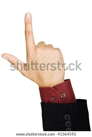 Pointing hand, isolated on a white background - stock photo