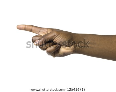 Pointing hand of a black man over a white background - stock photo